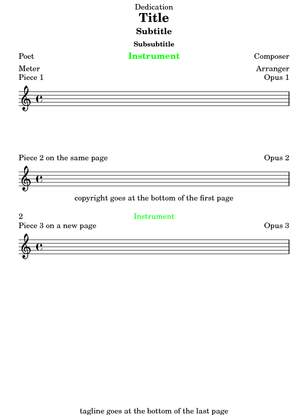 LilyPond Notation Reference: 3 2 1 Creating titles headers and footers