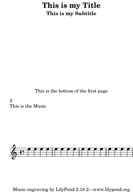 LilyPond Notation Reference: 3 2 1 Creating titles headers