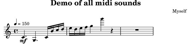 LilyPond snippets: MIDI