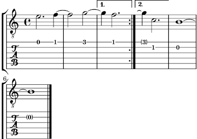 LilyPond Notation Reference: 2 4 1 Common notation for fretted strings